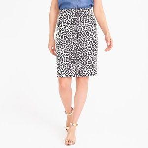 J. Crew Sz 2 The Pencil Skirt cotton leopard print